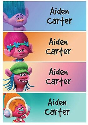 68 Personalized kid Name back to school Stickers cute 4 patterns troll poppy