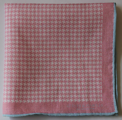 Pink linen pocket square houndstooth blue border. Hand rolled edges
