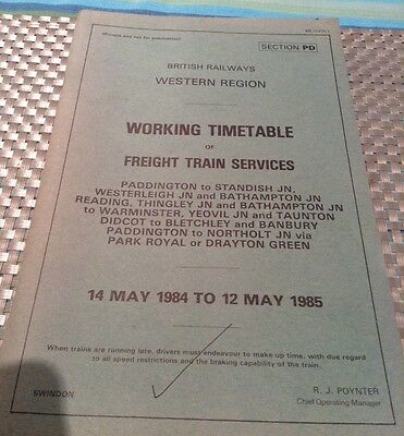 British Railways Western Region Timetable Freight Train Services Paddington Br
