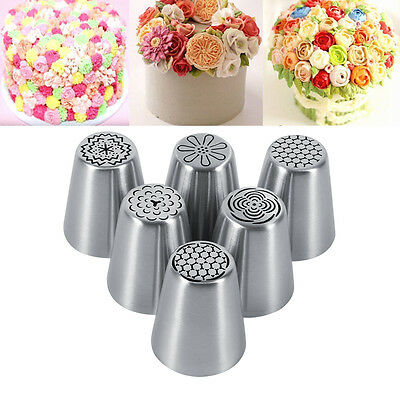 6x Russian Icing Piping Nozzles Tips Cake Decorating Sugarcraft DIY Pastry Tools