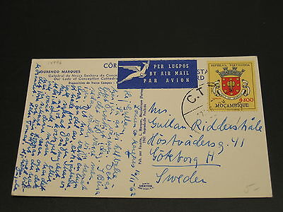 Mozambique 1962 airmail postcard to sweden *14996