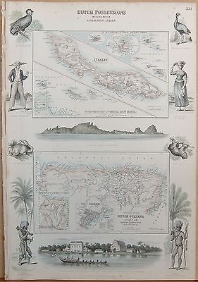 1874 Antique Fullarton Illustrated Map-Dutch Possessions In South America And We