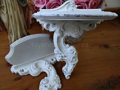 PAIR Vintage 1930s - 40s Wood Wall Shelves - French Shabby Chic TIMBER Shelf