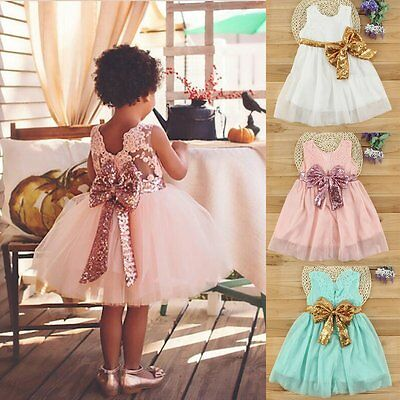 Flower Girl Princess Sequins Dress Toddler Baby Wedding Fancy Party Tutu Dresses