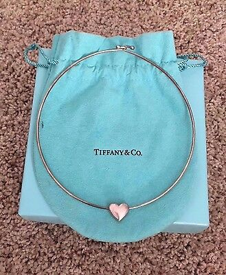 100% Authentic Tiffany & Co Sterling Puffy Heart Wire Necklace •retired•rare!