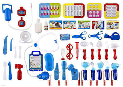 WolVol Set of 45 Pretend Play Doctor Set for Kids with Electric Stethoscope