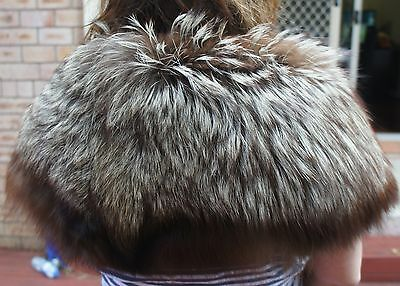 Huge Silver Brown Fox Fur Stole Made In France.