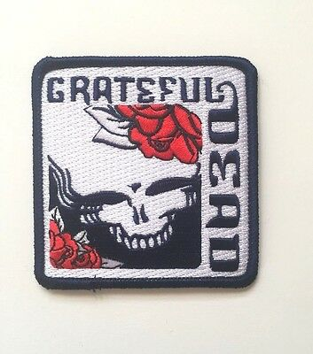 Grateful Dead Square Skull and Roses Embroidered Patch Iron on or Sew on