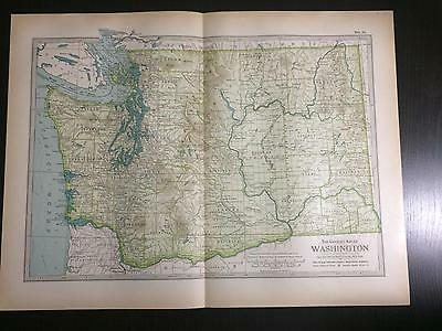 1897 Map of Washington State -The Century Atlas by Ben Smith