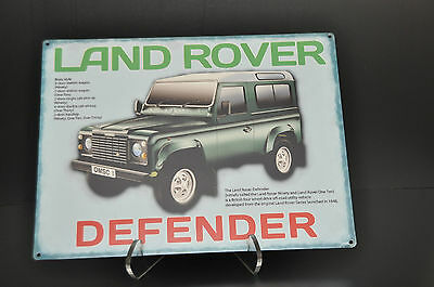 "Vintage Land Rover DEFENDER Metal Sign 16"" x 12"" Automobile Advertising Wall Art"