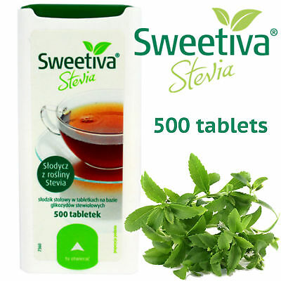 Sweetiva Stevia Sweetener Slimmers Diabetics Natural Sugar Free 500 tablets