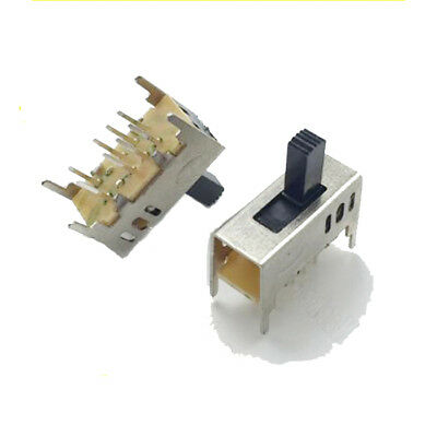 SS23D03, Vertical Slide Switch, 8 Pin PCB, 3 Position, DP3T, 2P3T, 50V 0.5A