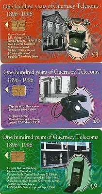 Phone Cards,Guernsey,set of 3,100 yrs Guernsey Telecoms  used cards  see scan