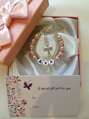 Girls Baby Personalised Bracelet Christening Baptism Holy Communion Gift Box