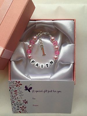 Girls Personalised Bracelet 1st Birthday gift box First Birthday Present