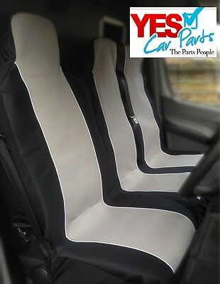 06-13 Ford Transit Deluxe Black & Grey Van Seat Covers 2+1