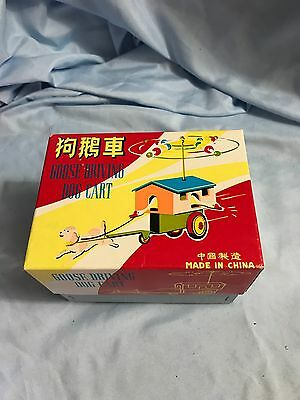 Vintage Goose Driving Dog Cart Clock Work Toy MS 716 Tin & Plastic China Boxed