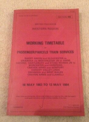 British Railways Western Region Timetable Passenger Parcels Train Services Br
