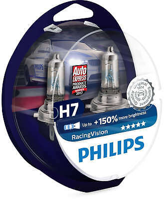 Philips Racing Vision RacingVision H7 +150% Headlight Bulbs Twin Duo 12972RVS2