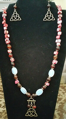 OOAK Hand Made Necklace Coral Agate Moonstone Earrings Celtic Triquetra Knot