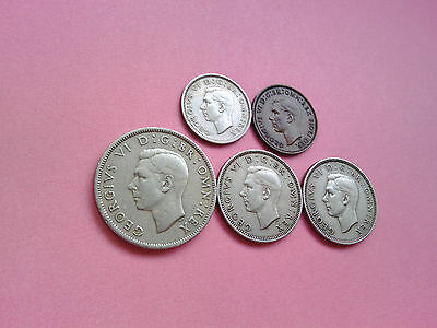 5 Coins George VI Year 1950 Collection Set Bulk Lot Birthday Present Gift (T449)