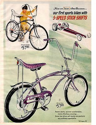 1966 Sears Christmas catalog page only Rail Banana Seat Bicycle Spyder Spaceline