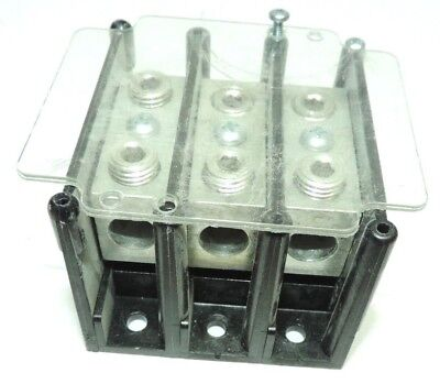 FERRAZ SHAWMUT 63153 600V 3P TERMINAL BLOCK with terminal cover for safety