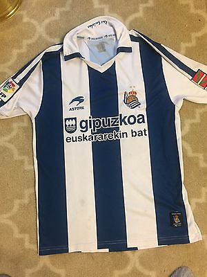 Italy Real Sociedad Soccer Jersey Shirt Adult Small Blue White