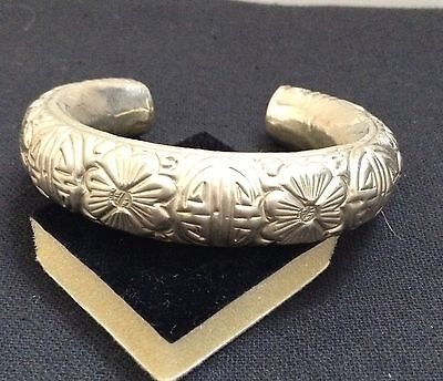 Vintage Asian Chinese Silver Plated  Repousse & Chased Symbolic Cuff Bracelet