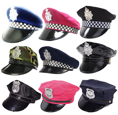 Police Hat American Uk Checkered Fancy Dress Costume Cap Army Pink Hen Night