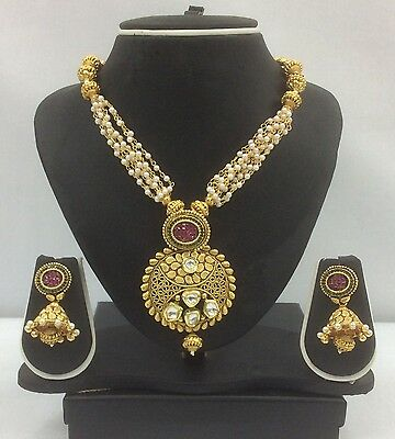 Bollywood Indian Polki Kundan Gold Plated Jewellery Set with Pink Crystals.