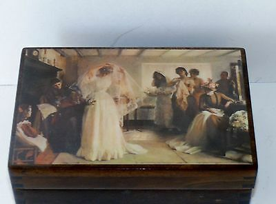 Vintage Reuge Swiss Music Jewelry Box Wedding March Mendelssohn Wood Wooden Gift