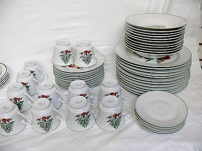 51 Pieces of Gibson Christmas Tree China Dishes Dinnerware Plates Cups Bowls EUC