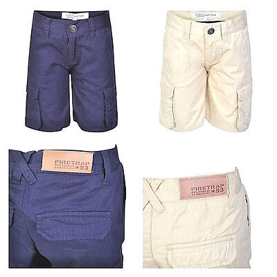 Boy's Ex Firetrap Premium Cargo Chino Shorts 100% Cotton Age 2 - 13 Years