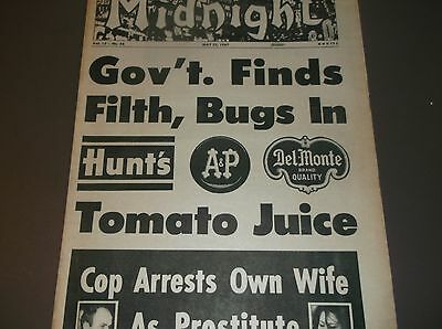 """Vintage Tabloid MIDNIGHT May22,1967""""GOV'T FINDS FILTH,BUGS IN TOMATO JUICE""""+more"""