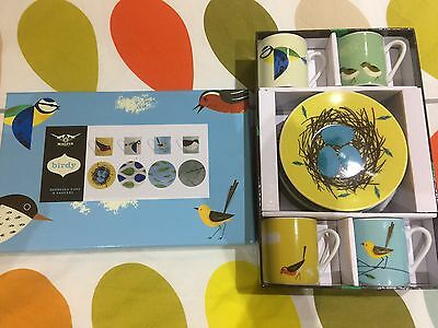 Birdy Expresso Cups And Saucers - Brand new In Box