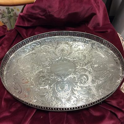 Large Oval Silver Plate On Copper Sheffield Made Tray With Feet