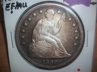 1867 Seated Liberty Silver Dollar--Mintage(46,900)- AU
