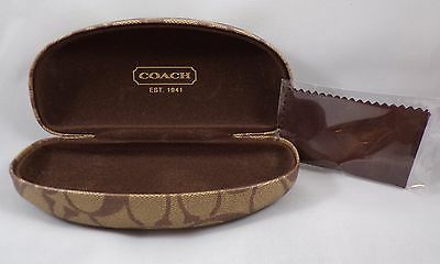 Authentic Coach Hard Clam Shell Sunglasses Case with Signature Cleaning Cloth