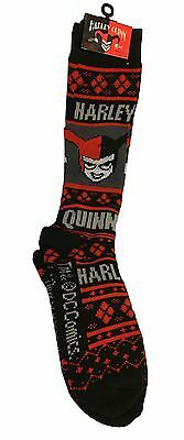 Harley Quinn Ugly Sweater Design All Over Print Knee High Socks DC Comics NWT