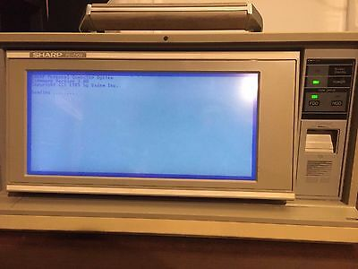 Vintage Sharp PC-7100 Luggable Portable PC Powers On Untested