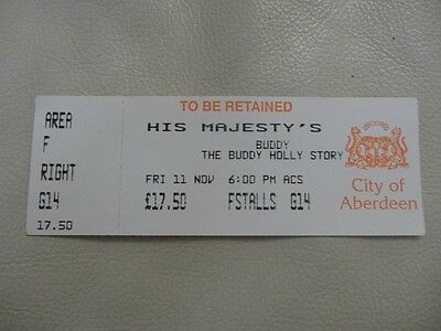 """Ticket For """" Buddy Holly"""" His Majesty's Theatre Aberdeen Scotland Nov11 1994.."""