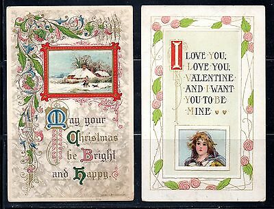 1910-1911 Embossed Holiday Greeting Post  Cards  CO 001