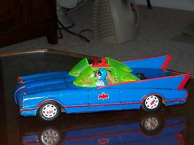 Vintage Blue Batmobile Batman Tin Toy Car Battery Operated for parts