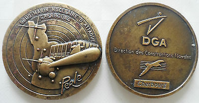 ancienne medaille SOUS MARIN NUCLEAIRE D'ATTAQUE PERLE   DGA CHERBOURG