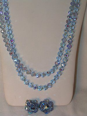 Vtg Iridescent Blue Crystal Beads Double Strand Necklace and Clip on Earrings
