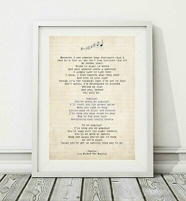 026 Wicked The Musical - Popular - Song Lyric Art Poster Print - Sizes A4 A3