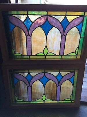 Sg 1076 Match Pair Antique All Stained Glass Pastel Window