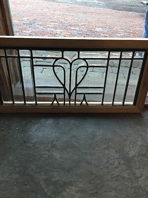 Sg 1077 Antique Sweetheart All Beveled Glass Transom Window 14 X 29""