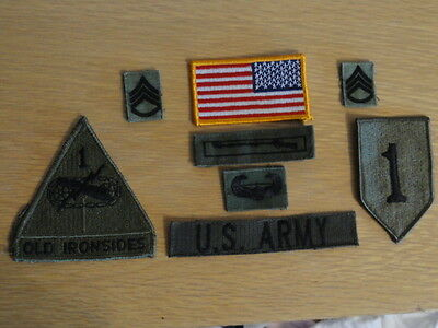 US ARMY 8x PATCHES OLD IRONSIDES SSG S-SERGEANT BID RED ONE UNIFORM KONVOLUT BDU